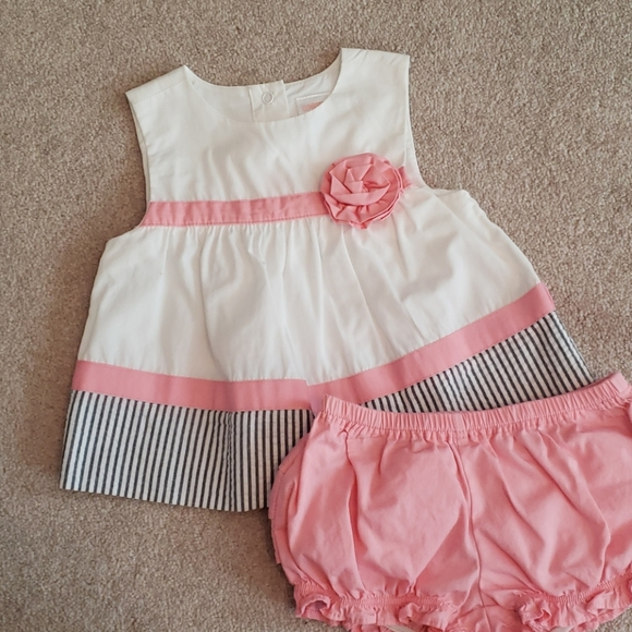 Pink grey and white dress with bloomers